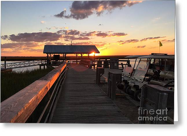 Weathervane Greeting Cards - Sunset Dewees Island Ferry Dock Greeting Card by Reggie Fairchild