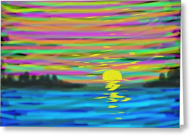 Abstract Expression Greeting Cards - Sunset Greeting Card by Dotti Hannum