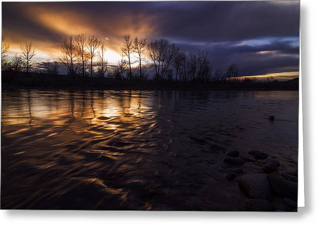 Reflections Of Sky In Water Greeting Cards - Sunset drama over Boise River in Boise Idaho Greeting Card by Vishwanath Bhat