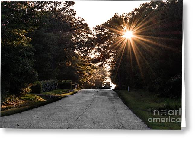 Highway Tapestries - Textiles Greeting Cards - Sunset Drive Greeting Card by James Hennis