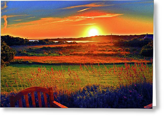 Print-on-demand Greeting Cards - Sunset Eat Fire Spring Rd Nantucket MA 02554 Large Format Artwork Greeting Card by Duncan Pearson