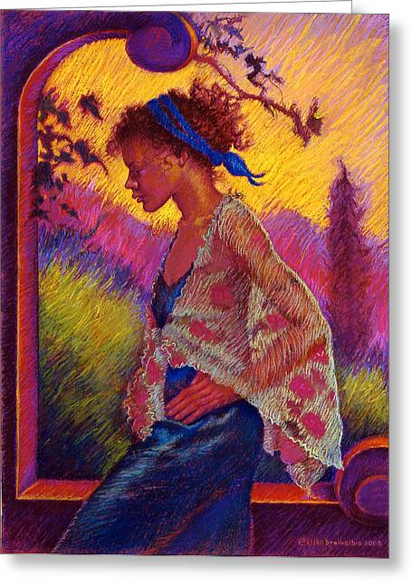 Figurative Pastels Greeting Cards - Sunset Greeting Card by Ellen Dreibelbis