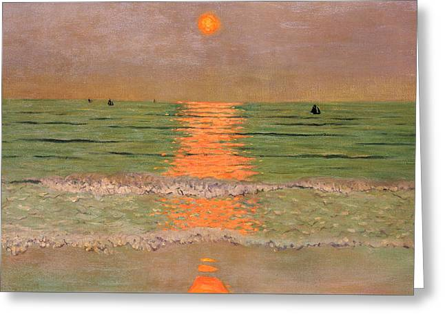 Sunset Greeting Card by Felix Edouard Vallotton