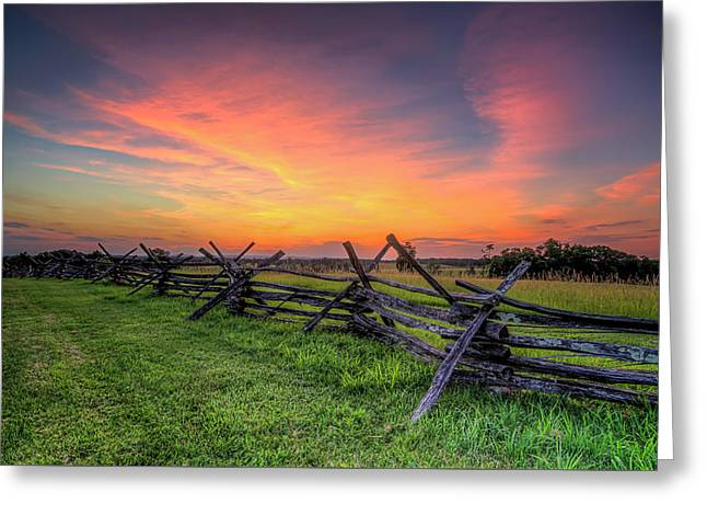 Sunset Fence Greeting Card by Ryan Wyckoff