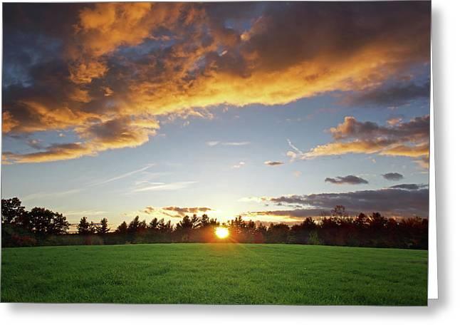 Sunset Field Greeting Card by Jerry LoFaro