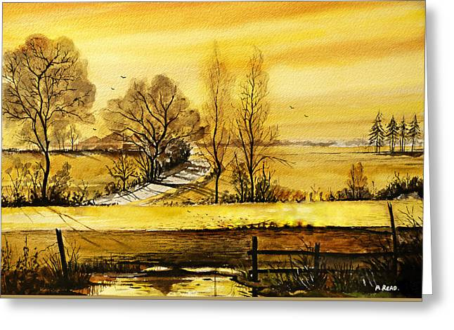 Puddle Greeting Cards - Sunset Fields Greeting Card by Andrew Read