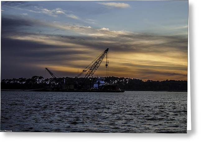 Unset Greeting Cards - Sunset Dredging  Greeting Card by Debra Forand