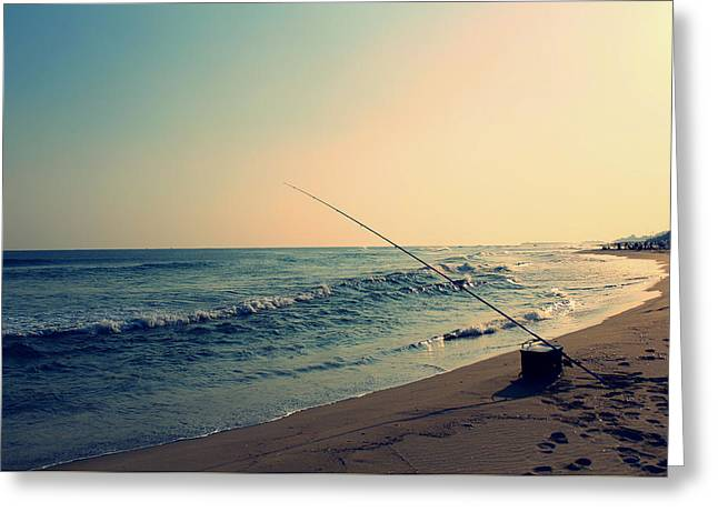 Surf Silhouette Greeting Cards - Sunset Fishing - Mesh Beach South Korea Greeting Card by Baek Seol