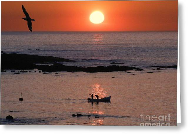 Wooden Ship Greeting Cards - Sunset Fishing Greeting Card by Terri  Waters