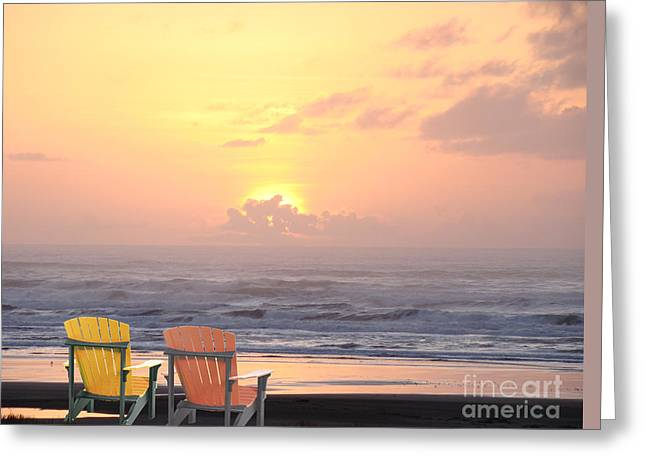 Ocean Shore Mixed Media Greeting Cards - Sunset for Two Greeting Card by Beverly Guilliams