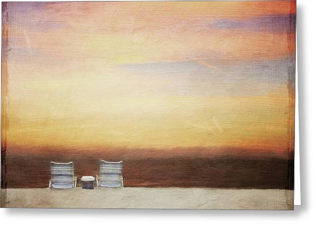 Empty Chairs Greeting Cards - Sunset for Two Greeting Card by Jayne Carney