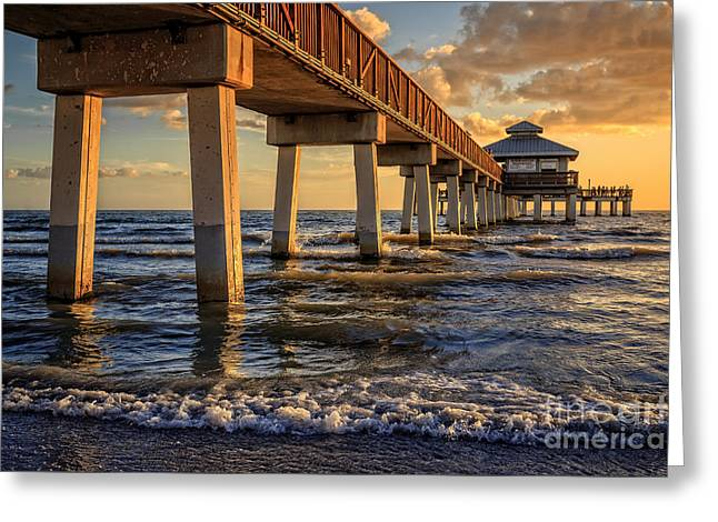 Sunset Fort Myers Beach Fishing Pier Greeting Card by Edward Fielding