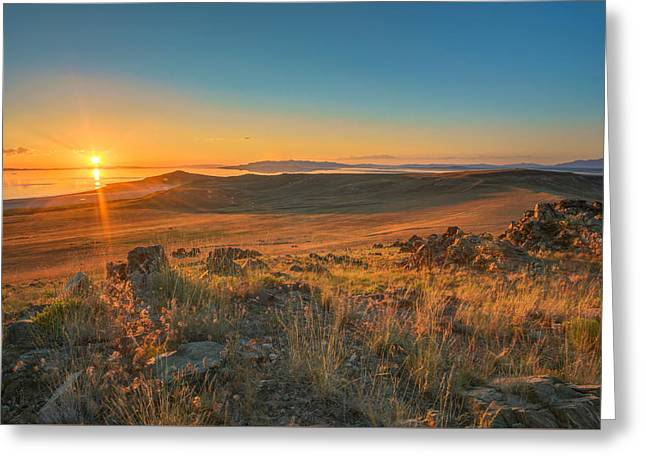 Utah Sky Greeting Cards - Sunset From Antelope Island Greeting Card by James Udall