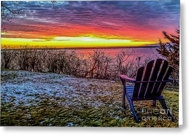 Okoboji Greeting Cards - Sunset from Dixon Beach Greeting Card by Patton Photography LLC