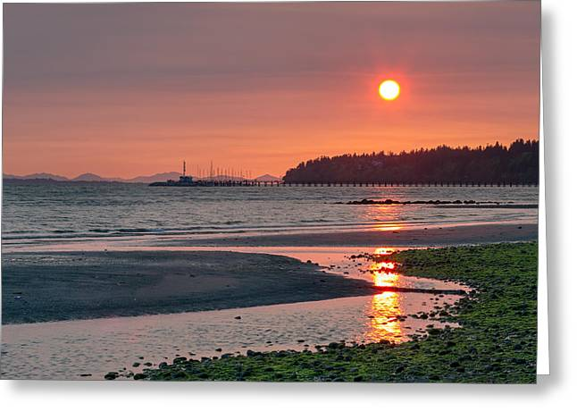 Haze Greeting Cards - Sunset from East Beach Greeting Card by Michael Russell