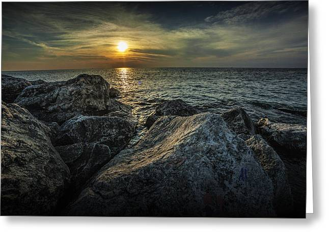 Sunset From The Channel Breakwater Rocks Greeting Card by Randall Nyhof