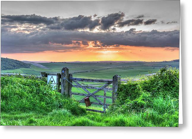 Sunset Gate Greeting Card by Hazy Apple