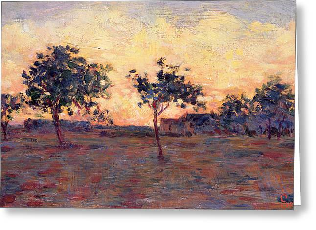 Sunset Greeting Card by Georges Pierre Seurat