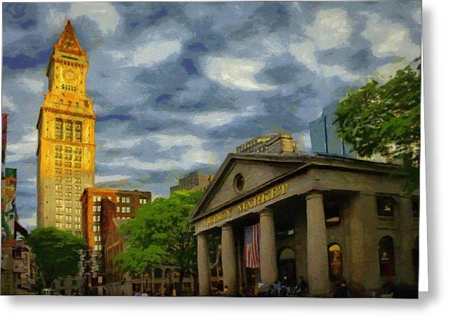 Tower Greeting Cards - Sunset Gleam of Custom House Tower Greeting Card by Jeff Kolker