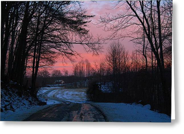 Roadway Greeting Cards - Sunset Glow Along Ryan Road Greeting Card by Kathryn Meyer