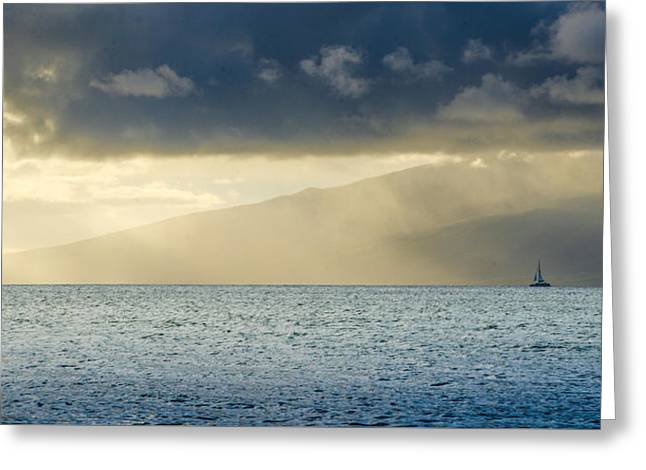 Sailboat Photos Greeting Cards - Sunset Glow Maui Greeting Card by Dave Fish
