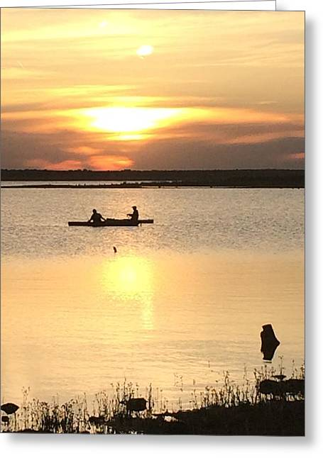 Canoe Photographs Greeting Cards - Sunset Greeting Card by Glynis Flower