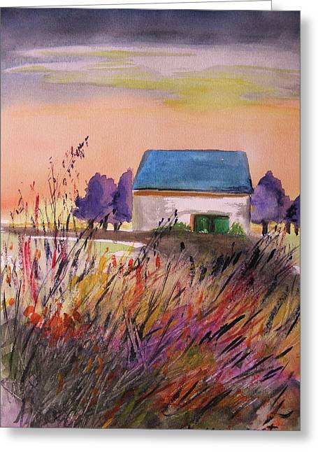 Old Barn Drawing Greeting Cards - Sunset Grasses Greeting Card by John  Williams
