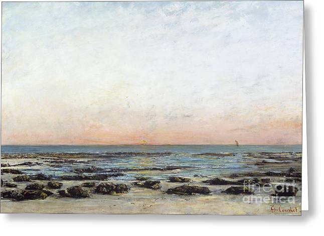 Gustave (1819-77) Greeting Cards - Sunset Greeting Card by Gustave Courbet