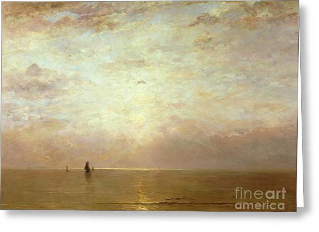 Sunlit Greeting Cards - Sunset Greeting Card by Hendrik William Mesdag