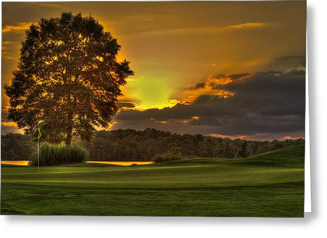 Beautiful Creek Greeting Cards - Sunset Hole In One The Landing Greeting Card by Reid Callaway