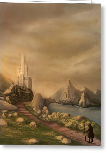 Fantasy World Greeting Cards - Sunset I Greeting Card by Carlos M R Alves