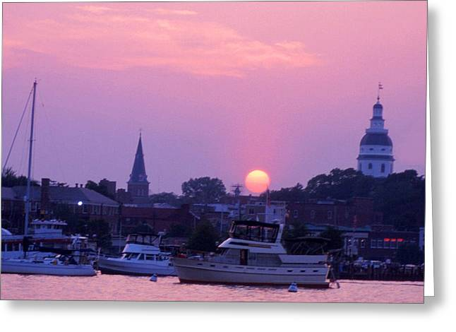 Ego Greeting Cards - Sunset in Annapolis Greeting Card by Paul Pobiak