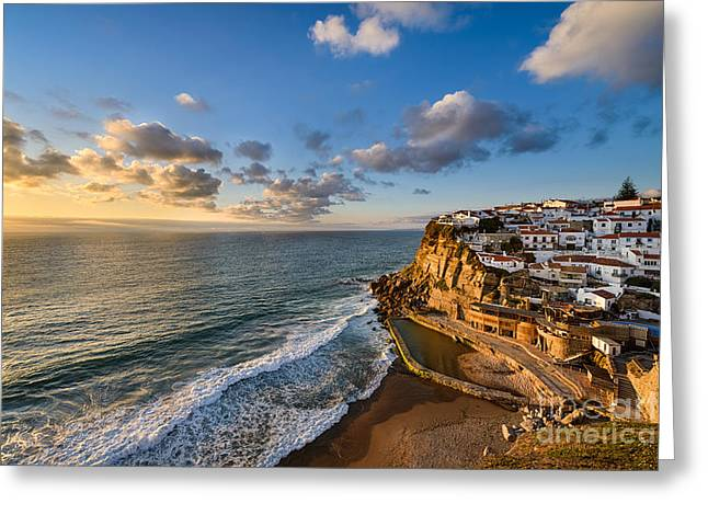 Ocean Panorama Greeting Cards - Sunset in Azenhas do Mar Greeting Card by Michael Abid