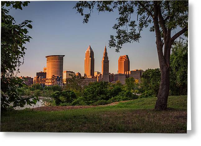 Park Scene Greeting Cards - Sunset in Cleveland ohio Greeting Card by Dale Kincaid