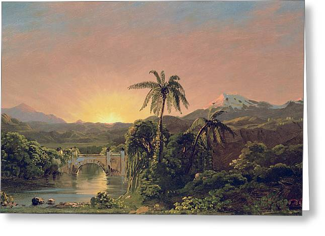 Rainforest Greeting Cards - Sunset in Equador Greeting Card by Frederic Edwin Church