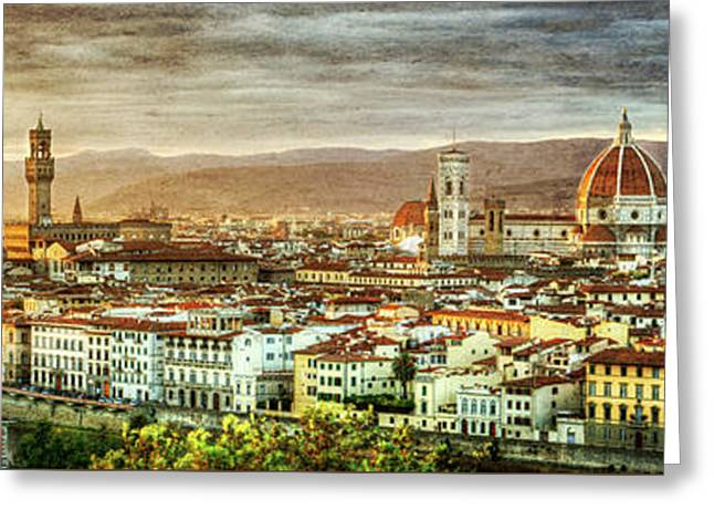 Michelangelo Greeting Cards - Sunset in Florence - Vintage version Greeting Card by Weston Westmoreland