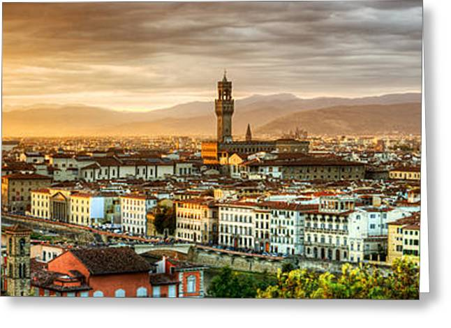 Michelangelo Greeting Cards - Sunset in Florence Greeting Card by Weston Westmoreland