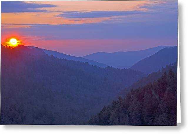 Smokey Mountains Greeting Cards - Sunset in Great Smoky Mountain National Park Tennessee Greeting Card by Brendan Reals