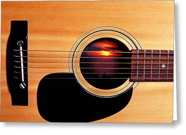 Wooden Greeting Cards - Sunset in guitar Greeting Card by Garry Gay
