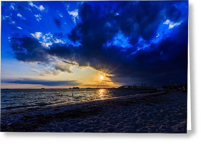 Gloaming Greeting Cards - Sunset in Hobie Beach Greeting Card by Emilio Portuondo