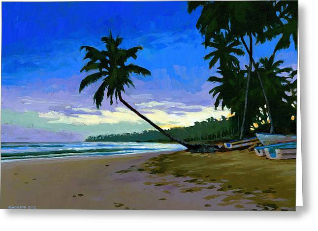 Dominican Greeting Cards - Sunset in Las Terrenas Greeting Card by Douglas Simonson