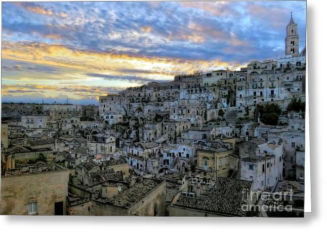 Italian Sunset Greeting Cards - Sunset in Matera.Italy Greeting Card by Jennie Breeze