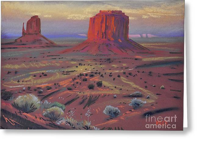 For Sale Pastels Greeting Cards - Sunset in Monument Valley Greeting Card by Donald Maier