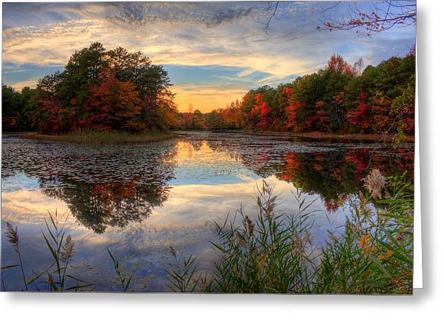 Lake Sunset In New Jersey Greeting Card by Kevin Hill