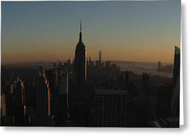 Skyline Pyrography Greeting Cards - Sunset in New York City Greeting Card by Miryam  UrZa