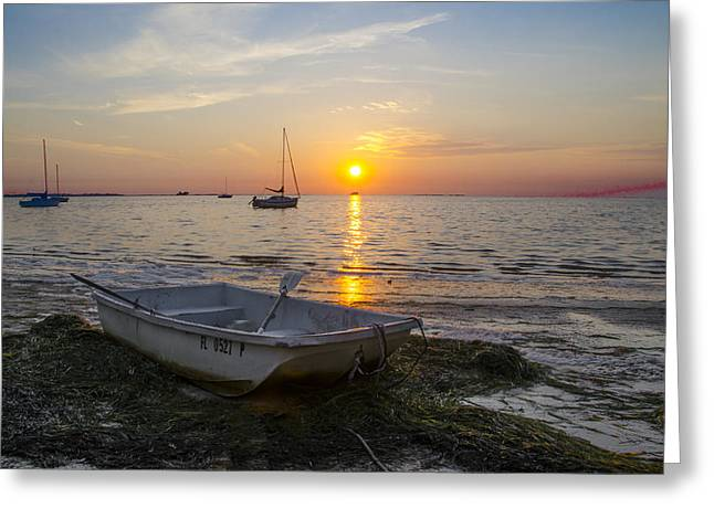 Rowboat Digital Art Greeting Cards - Sunset in Paradise Greeting Card by Bill Cannon