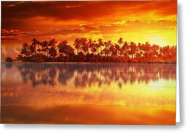 Sunset Prints Greeting Cards - Sunset in paradise Greeting Card by Gabriella Weninger - David