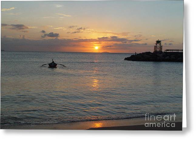 Sunset In Puerto Rico Greeting Card by Patty Vicknair