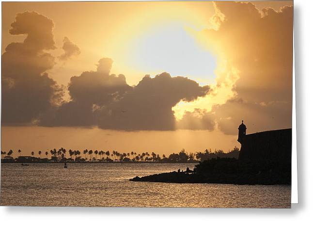 Morros Greeting Cards - Sunset in San Juan Bay Greeting Card by George Oze