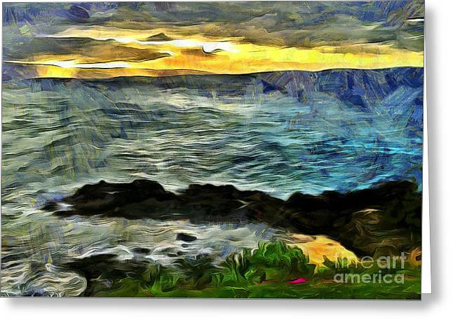 Tropical Island Greeting Cards - Sunset In The Cove Greeting Card by Krissy Katsimbras